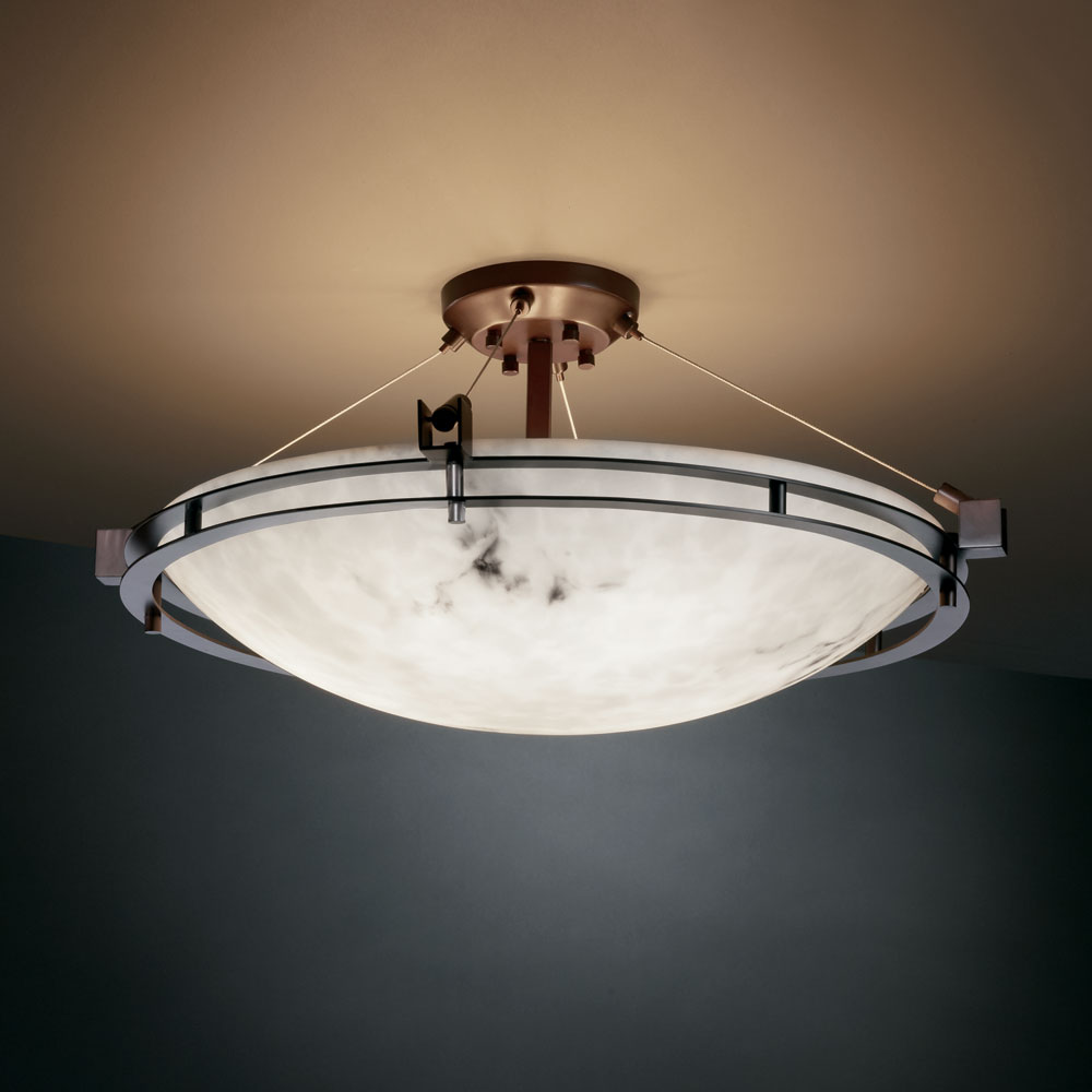 Justice Design Fal 8112 Lumenaria Faux Alabaster 28 Wide Flush Mount Ceiling Light Fixture