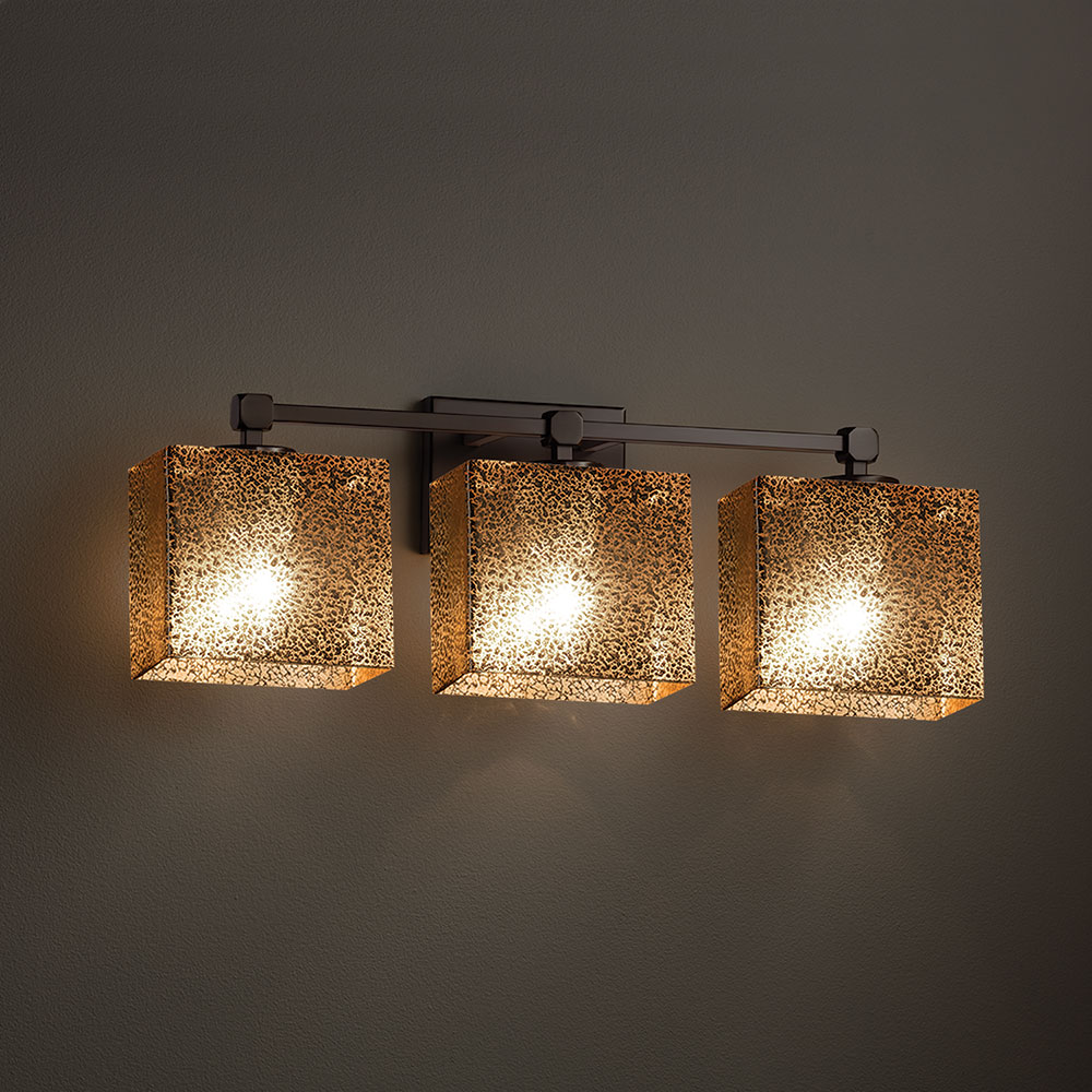 Justice Vanity Lights : Justice Design FSN-8423 Tetra Fusion 3-Light Bathroom Sconce Lighting - JUS-FSN-8423