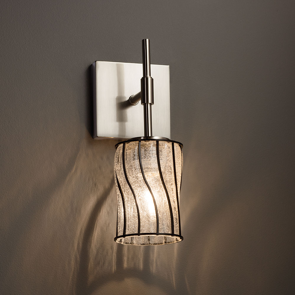 Justice Wall Sconces : Justice Design WGL-8415 Union Wire Glass Modern Wall Sconce - JUS-WGL-8415