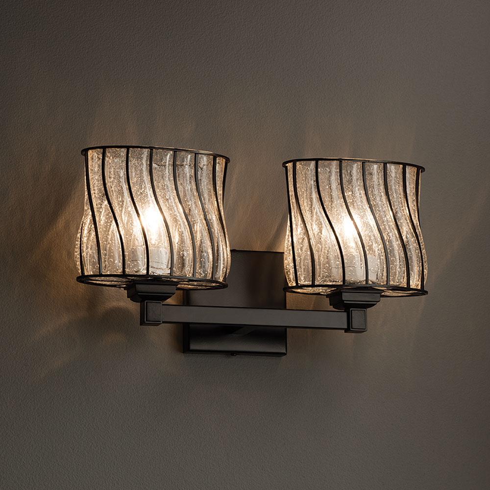 Justice Vanity Lights : Justice Design WGL-8432 Regency Wire Glass Contemporary 2-Light Vanity Light - JUS-WGL-8432