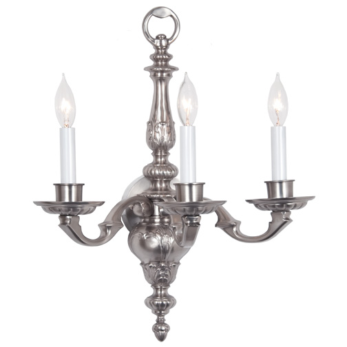 JVI Designs 235-17 Pewter Finish 3 Candle Traditional Wall Lighting Fixture - JVI-235-17