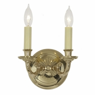 JVI Designs 248-01 Wall Mounted Polished Brass 2 Candle Sconce Lighting