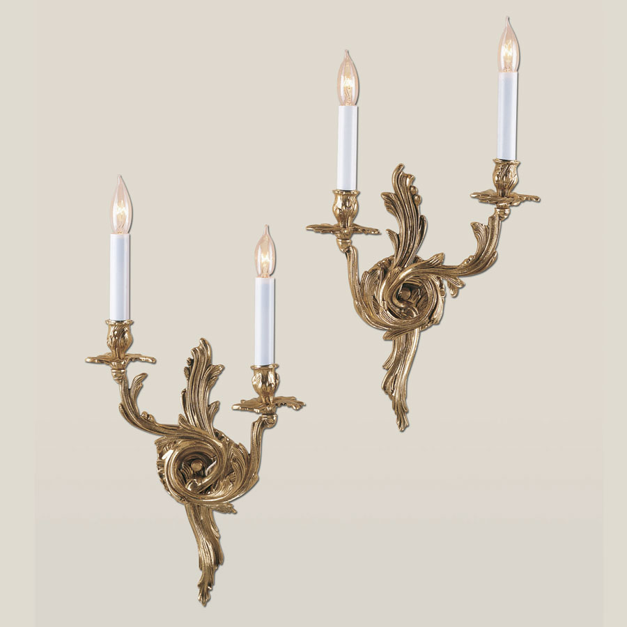 JVI Designs 651 Rococo Style 19 Inch Tall Antique Brass 2 Candle Wall Sconce Set - JVI-651-05