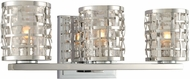 Kalco 308733SL Bridgeport Contemporary Brushed Stainless Steel Xenon 3-Light Bathroom Vanity Lighting