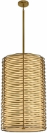 Kalco 312751VBR Paloma Contemporary Vintage Brass LED Drum Pendant Lamp