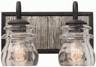 Kalco 504632BI Bainbridge Black Iron 2-Light Bathroom Light Fixture