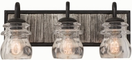 Kalco 504633BI Bainbridge Black Iron 3-Light Bathroom Vanity Lighting