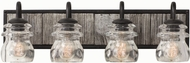 Kalco 504634BI Bainbridge Black Iron 4-Light Bathroom Vanity Light