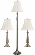 Kenroy Home 29020BS Banister Brushed Steel 3-Pack - 2 Table Lamps, 1 Floor Lamp