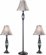 Kenroy Home 30350 Sperry Black with Black Chrome Accents 2 Table Lights, 1 Floor Light