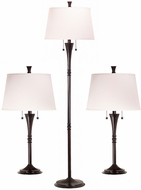 Kenroy Home 30843ORB Park Avenue Oil Rubbed Bronze 3-Pack - 2 Table Lights, 1 Floor Light