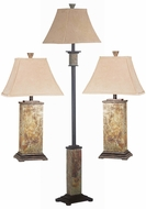 Kenroy Home 31207 Bennington Natural Slate 2 Table Lamps, 1 Floor Lamp