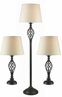 Kenroy Home 32190ORB Avett Oil Rubbed Bronze 3-Pack: Two Table Lamps, One Floor Lamp