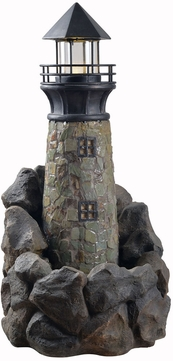 Kenroy Home 50075SL Lighthouse Nautical Natural Slate and Stone LED Exterior Floor Fountain