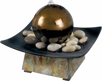 Kenroy Home 50235SL Sphere Natural Green Slate with Coppered SS Ball Indoor Table Fountain
