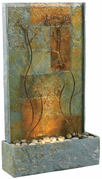 Kenroy Home 50379SL Copper Vines Natural Green Slate with Decorative Metal Accents Halogen Exterior Floor Fountain