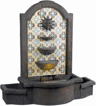 Kenroy Home 50721MD Cascada Madrid with Patterned Tile Motif Halogen Exterior Floor Fountain