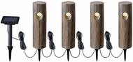 Kenroy Home 60554 Cole Wood Grain LED Exterior 4 Lt Solar String Path Lt