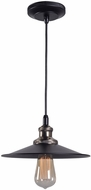 Kenroy Home 93370BL Ancestry Contemporary Black and Antique Bronze Mini Hanging Light