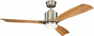 Kichler 300027BSS Ridley II Brushed Stainless Steel Medium Oak 52  Indoor Ceiling Fan