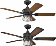 Kichler 310139DBK Lyndon Patio Distressed Black Walnut / Walnut Shadowed 52  Indoor Home Ceiling Fan