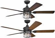 Kichler 310140DBK Lyndon Patio Distressed Black Walnut / Walnut Shadowed 60  Ceiling Fan