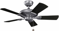 Kichler 310144WSP Kevlar Weathered Steel Powder Coat Satin Black 42  Indoor Ceiling Fan
