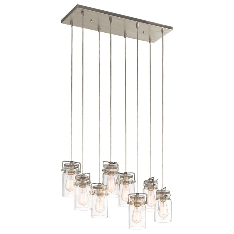 Kichler 42890ni brinley retro brushed nickel finish 775 tall multi kichler 42890ni brinley retro brushed nickel finish 775nbsp tall multi pendant light fixture loading zoom mozeypictures