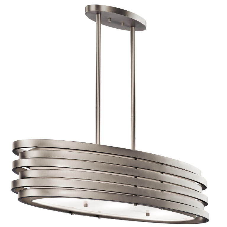 Kichler 43303ni roswell contemporary brushed nickel finish for Island kitchen lighting fixtures