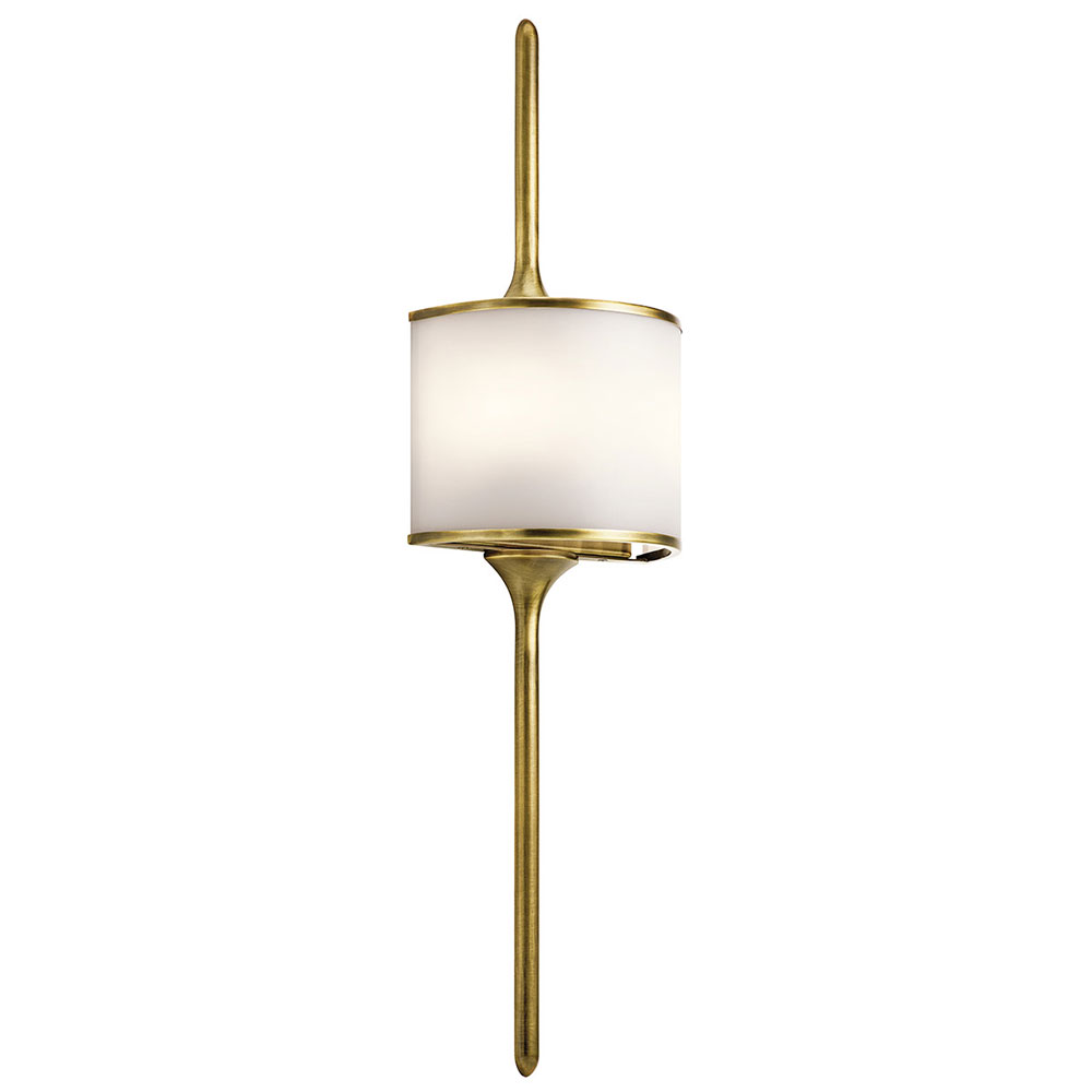 Kichler 43376NBR Mona Contemporary Natural Brass Halogen Wall Light Fixture.  Loading Zoom