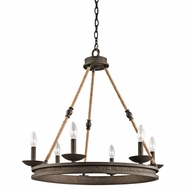 Kichler 43423OZ Kearn Rustic Olde Bronze Finish 26  Tall Chandelier Light