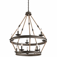 Kichler 43424OZ Kearn Country Olde Bronze Finish 33.75  Wide Ceiling Chandelier