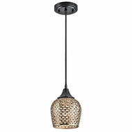 Kichler 43489BKGLD Annata Black Finish 8.5  Tall Mini Pendant Lamp