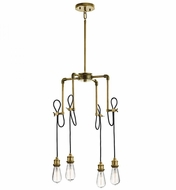 Kichler 43587NBR Rumer Retro Natural Brass Mini Lighting Chandelier