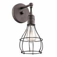 Kichler 43603WZC Industrial Cage Nautical Weathered Zinc Finish 12.25 Tall Sconce Lighting