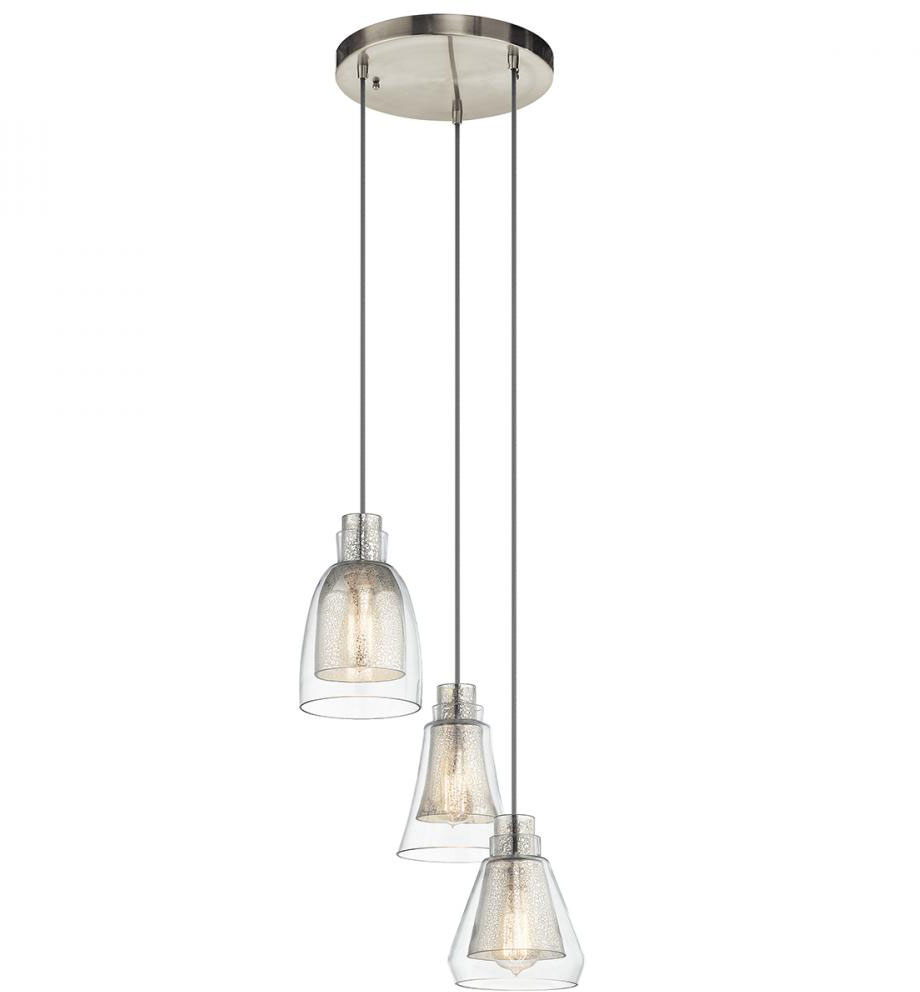 Kichler 43627ni evie contemporary brushed nickel multi Modern pendant lighting