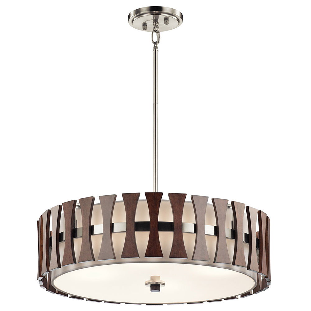 Kichler 43753aub cirus modern auburn stained drum pendant for Contemporary lighting pendants