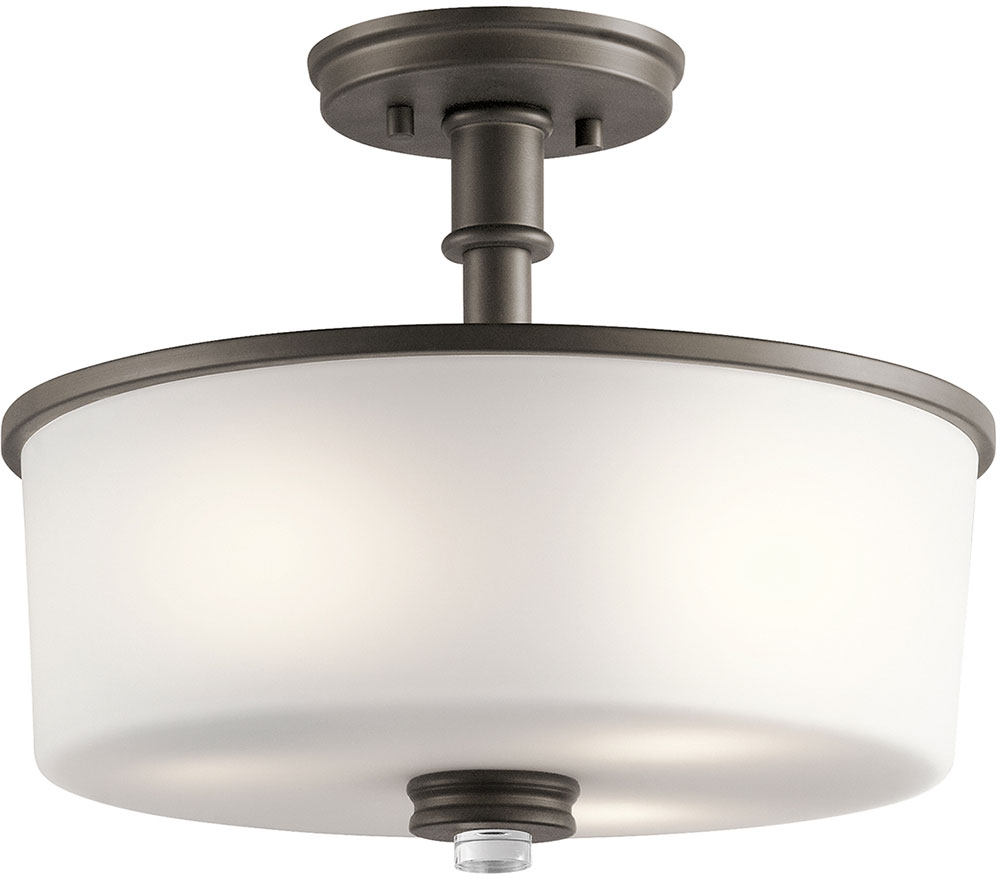 kichler 43926ozl16 joelson olde bronze led flush mount