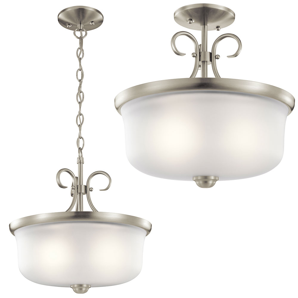 Kichler 43942NI Bixler Brushed Nickel Pendant Lighting / Flush Mount ...