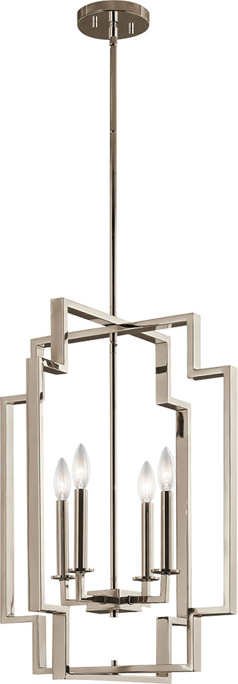 Art Deco Foyer Lighting : Kichler pn downtown deco modern polished nickel foyer