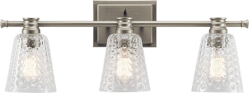 Bathroom Light Fixtures In Brushed Nickel kichler 45097ni nadine contemporary brushed nickel 3-light