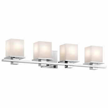 "Chrome Bathroom Light kichler 45152ch tully contemporary chrome finish 6.5"" tall 4-light"