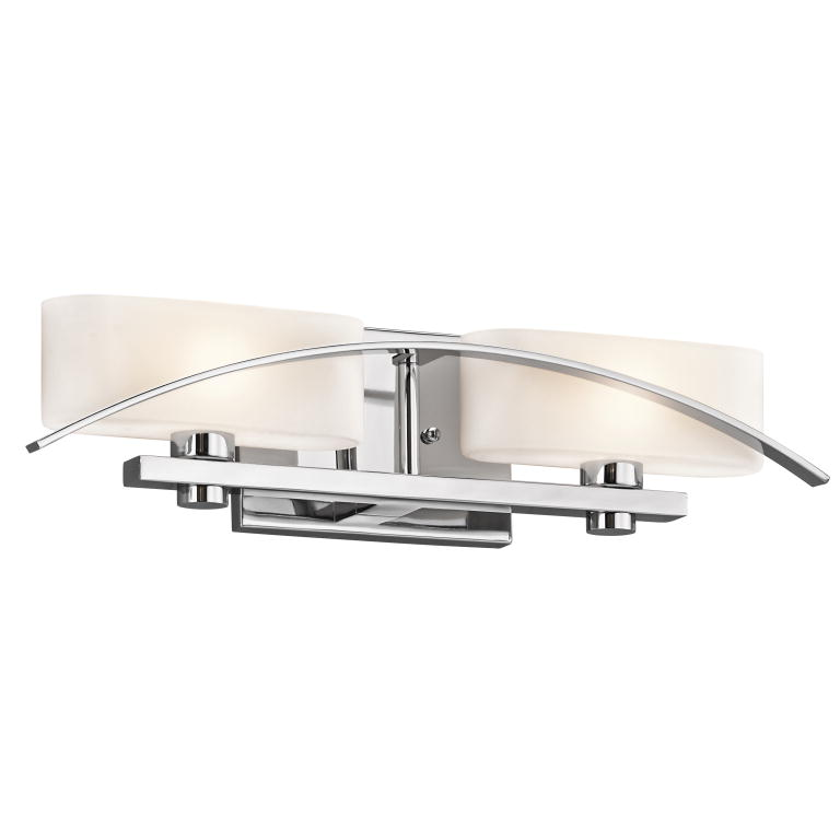 "Bathroom Vanity Lights Kichler kichler 45316ch suspension modern chrome finish 20"" wide 2-light"