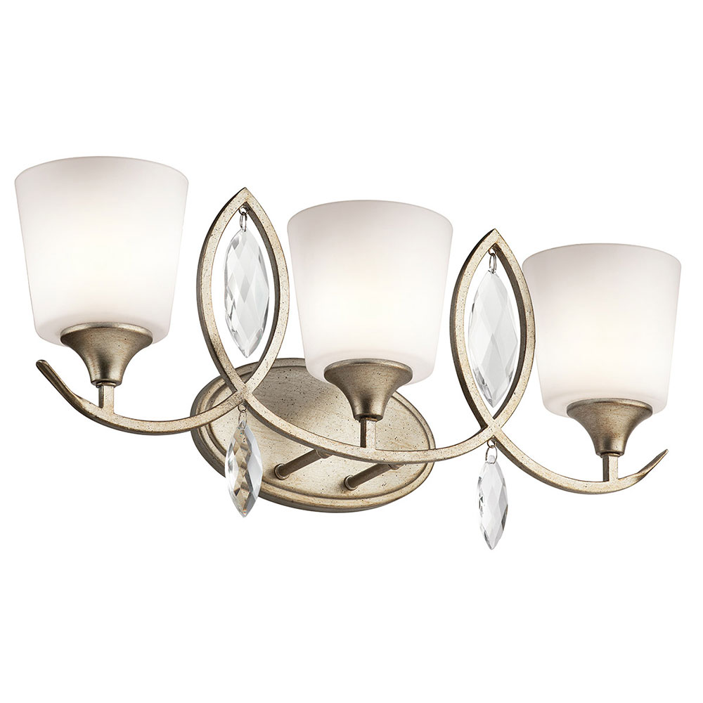 Bathroom Light Fixtures In Gold kichler 45372sgd casilda sterling gold 3-light bathroom light
