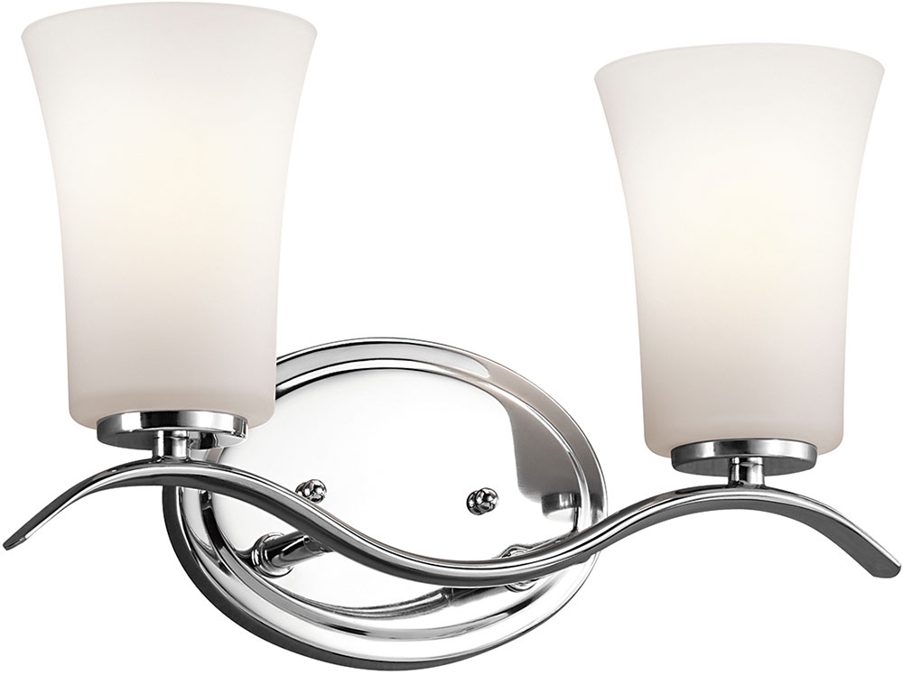 bathroom light fixtures chrome kichler 45375chl16 armida modern chrome led 2 light 16079