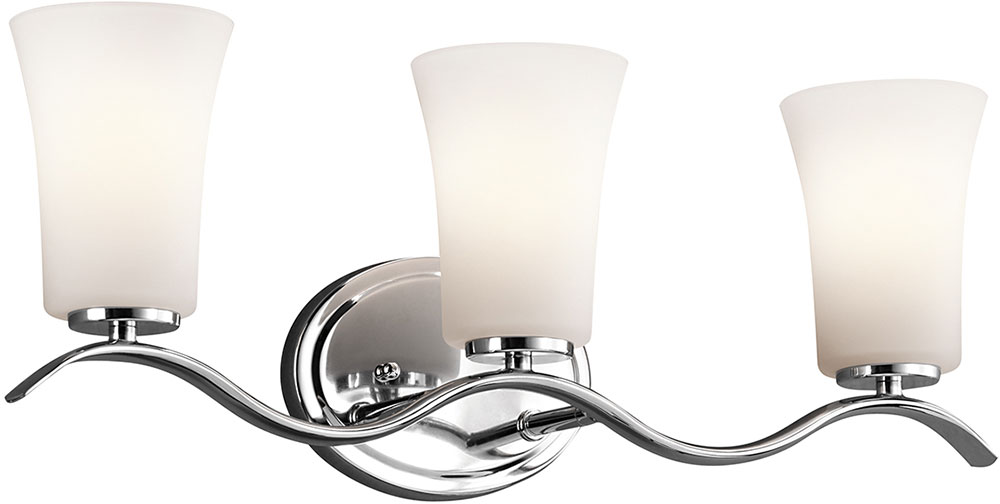 Kichler 45376chl16 Armida Contemporary Chrome Led 3 Light Bath Light Fixture Kic 45376chl16