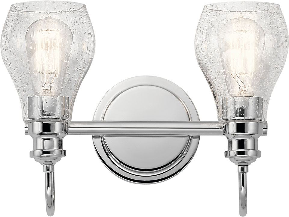 Chrome Bath Lighting Fixtures: Kichler 45391CH Greenbrier Contemporary Chrome 2-Light