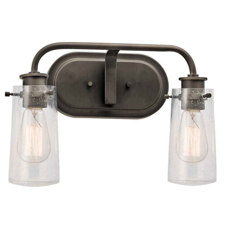 "Bathroom Vanity Lights In Bronze kichler 45458oz braelyn retro olde bronze finish 10"" tall 2-light"