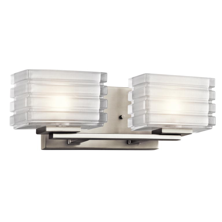 "Bathroom Lighting Fixtures Brushed Nickel kichler 45478ni bazely contemporary brushed nickel finish 5"" tall"