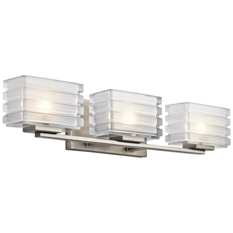Kichler 45479NI Bazely Modern Brushed Nickel Finish 24u0026nbsp; Wide Halogen 3  Light Bathroom Vanity Light. Loading Zoom